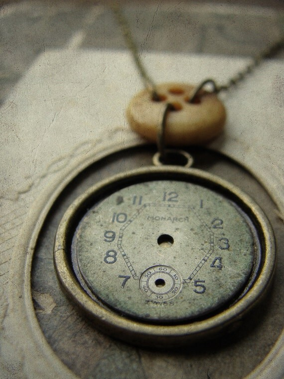 Repurposed Watchface and Victorian Bone Button Necklace - The Bonecounter