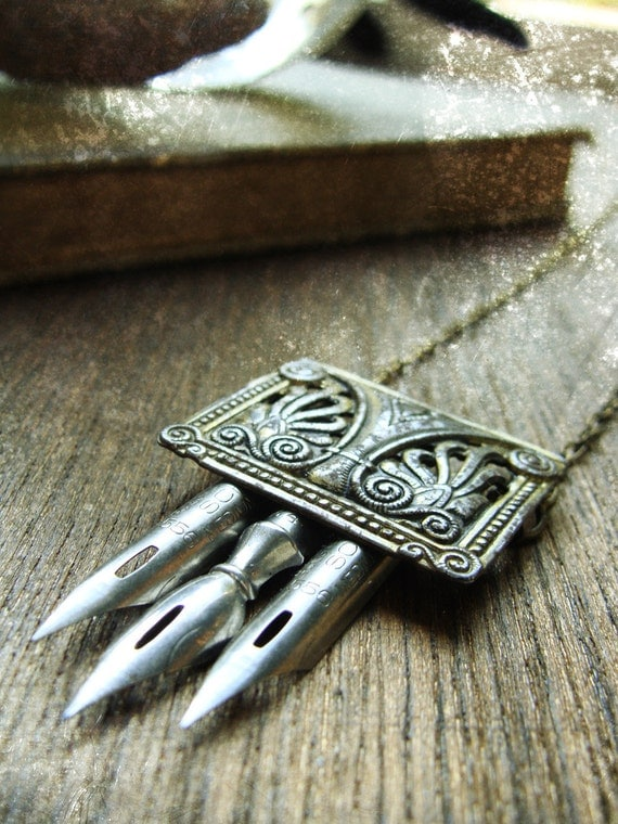 Vintage Repurposed Buckle and Antique Pen Nib Necklace - The Cartographer
