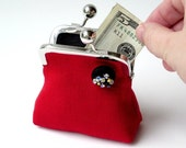 Red and black linen coin purse with crystal geode button ... luxury eco friendly fabrics