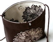 Applique flower shoulder crossbody brown cream purse  ... organic cotton fabrics ... eco chic