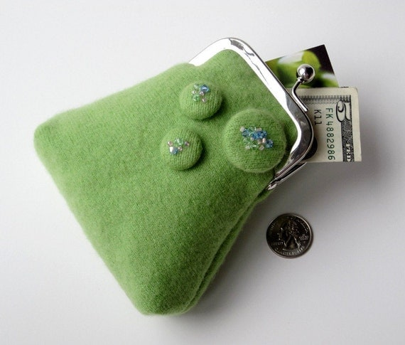 Upcycled green cashmere luxury coin credit card purse ... Swarovski crystal button detail ... eco chic