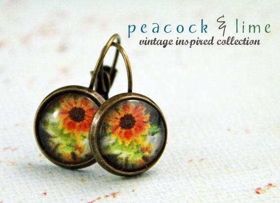 Vintage-inspired Sunflower antique brass earrings