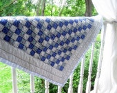 Vintage Small Quilt and Pillow Case in blue squares by mailordervintage on etsy