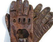 Vintage Genuine Leather Motor Car Riding Gloves in Brown by mailordervintage on etsy