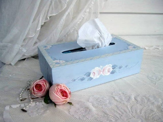 Kleenex Box Cover, Decorative Box, Wood, Painted Roses, Blue, Shabby Roses, French Country, Cottage Decor, by mailordervintage on etsy
