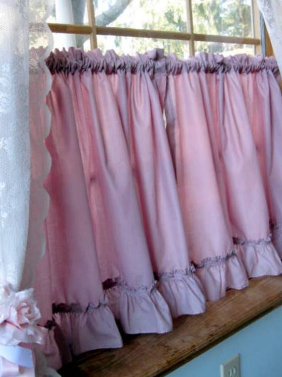 Vintage Cafe Curtains, Frills, Window Curtain, Dusty Rose, Pink ...