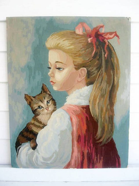 Painting of Girl and Kitty, Wall Hanging, Paint by Number, Nursery Decor, Wall Decor, by mailordervintage on etsy