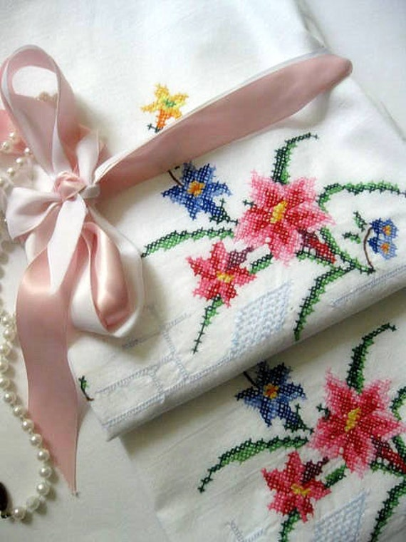 RESERVED - Pillowcase Set, Cross Stitch, Pink Flowers, Embroidered, Shabby Cottage, Cottage Decor, by mailordervintage on etsy