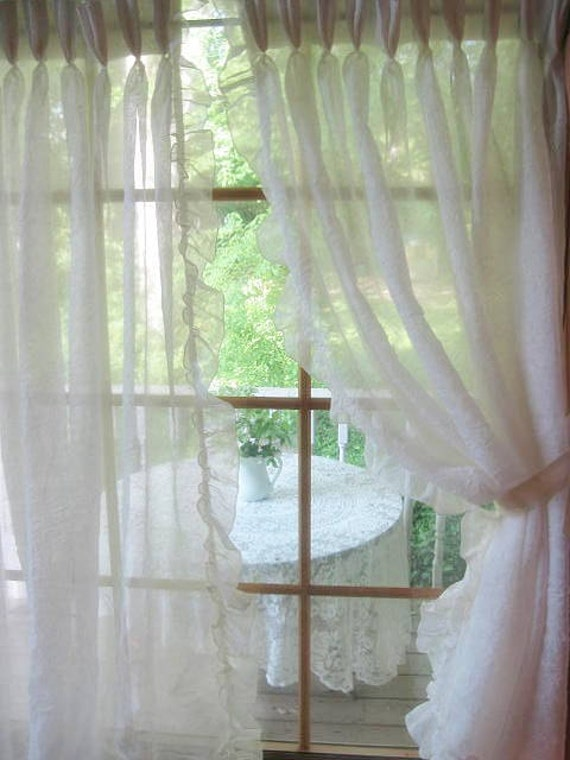 Curtains Frilly Transparent White Cottage Charm French