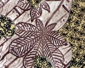 Nature - Fleur De Lis Ceramic Wall Hanging in Chocolate Brown and Sepia - Home Decor
