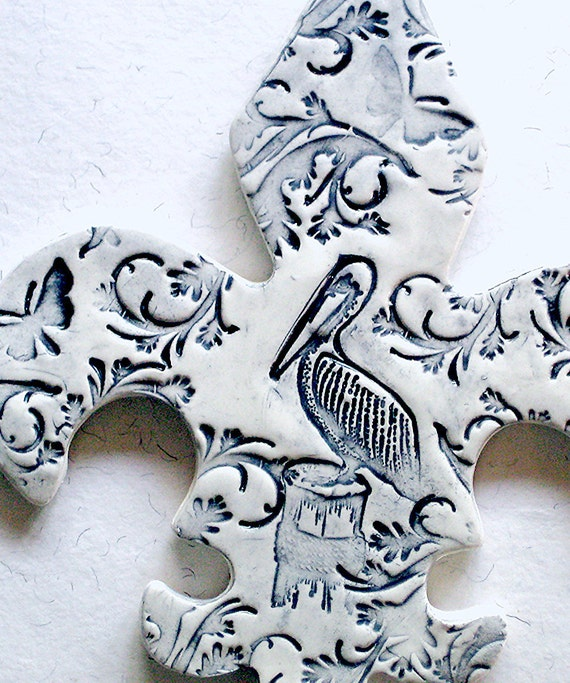 Peacefulness  - Ceramic Glazed and Textured Wall Tile - Pelican in the Gulf