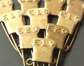 6- Vintage Laundry Pins Brass Embossed Letter F Numbered Marker Pin Tags