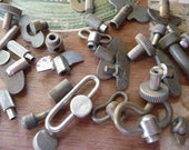 12 Antique Clock Winding Keys Knobs and Buttons