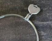Antique SILVER Optical Lens Monocle Steampunk Altered Art Pendant Assemblage Shrine Scrapbooking
