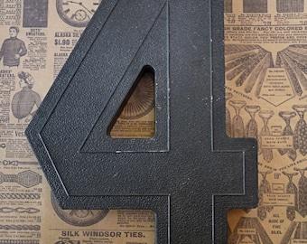 Vintage Number FOUR (4) Block Style Black Marquee Signage Primitive Sign Marker Tags