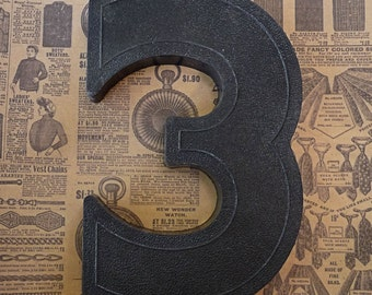 Vintage Number THREE (3) Block Style Black Marquee Signage Primitive Sign Marker Tags