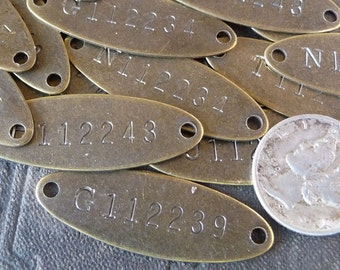 TWO (2)  Brass Tags Vintage Numbered Tiny Oval 2-Hole Metal Rectangle Small even TiNy Tags Marker ID tags