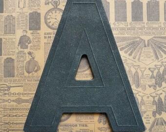 Vintage Alphabet Black Plastic Letter Signage Primitive Sign Marker Tag Sign A