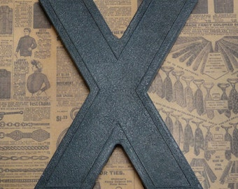 Vintage Alphabet Black Plastic Letter Signage Primitive Sign Marker Tag Sign X
