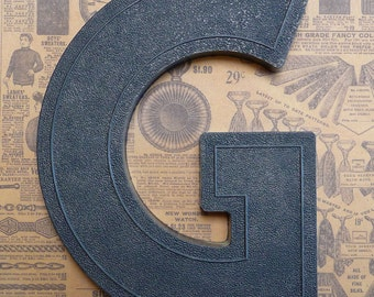 Vintage Alphabet Black Plastic Letter Signage Primitive Sign Marker Tag Sign G