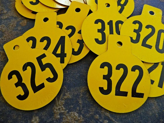 6- Vintage Metal Numbered Round Golden Yellow 1-Hole Metal Tags