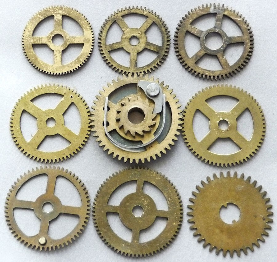 Antique Wheels And Gears : Vintage brass clock gears wheels cogs small medium large watch