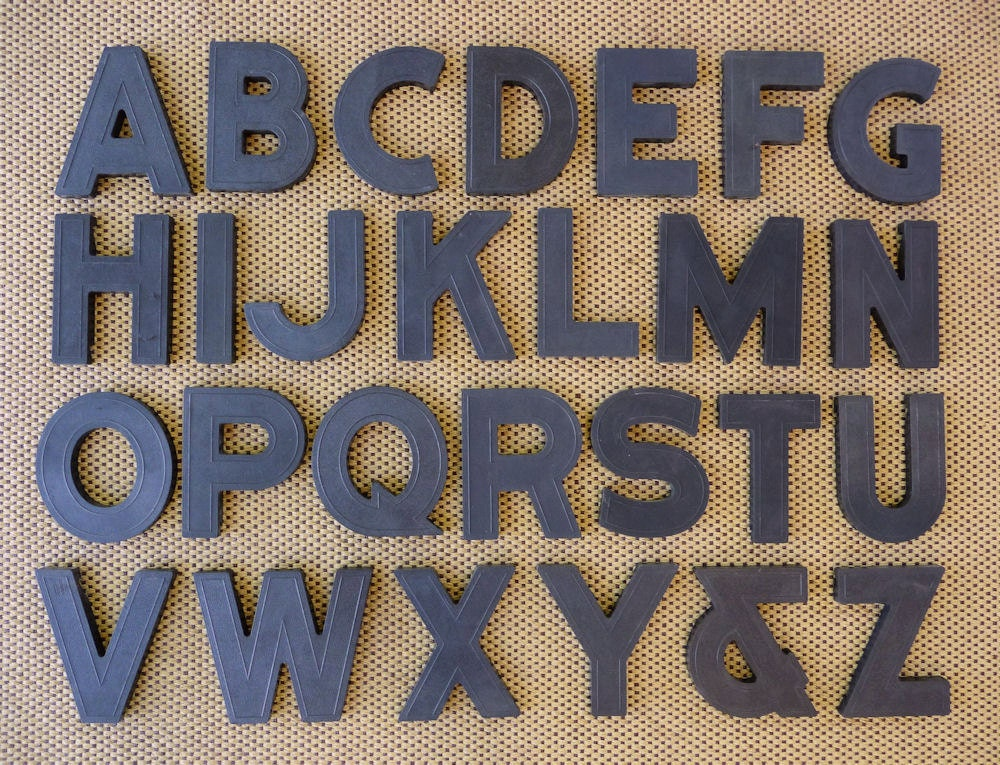 Vintage complete alphabet a to z block style black marquee - Alphabet complet ...