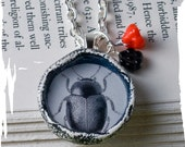Black and White Beetle Necklace Symbolic Necklace, Nature Jewelry