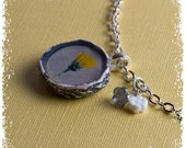 Dandelion Necklace in Gray and Yellow with Vintage Image and Ephemera