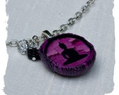 Pink Necklace Meditating Buddha Silhouette Necklace in Black and Fushia with Adjustable Siver Chain