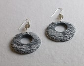 Gray and White Circle Hoop Earrings with Gray Lace Pattern and Sterling Silver Earring Hooks