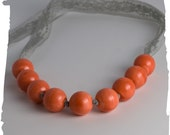 Orange Necklace Handmade Colorful Orange Ceramic Necklace Hand Knotted Grey Lace Necklace
