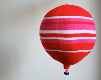 Pink and Red Hot Air Balloon - SALE - 25% OFF