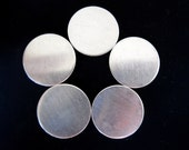 S A L E - 3/4 Inch 24 Gauge Sterling Silver Round Discs - 5 Discs - For Hand Stamped Jewelry