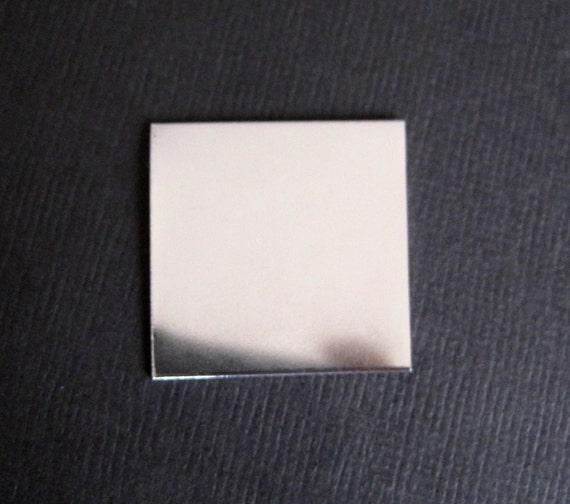 2 pcs - 1 inch Square 22 gauges SterlingSilver Blanks - Hand Stamping Supplies