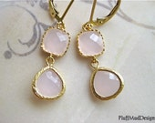 Pink Faceted Glass Gold Drop Earrings