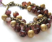 Raspberry Swirl Picasso Czech Glass Gold Pearl Chunky Bracelet - Raspberry Ice