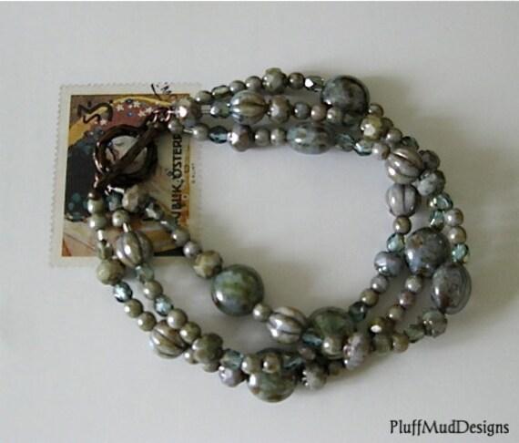 Czech Bead and Copper Multi Strand Bracelet - Waves