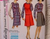 Vintage UNCUT Simplicity 6143 Junior Petite Jumper, Skirt, Blouse, Top Pattern from 1965