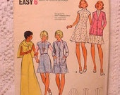 Vintage 70s Butterick 3040 Pattern Maxi, Mini Dress and Cardigan Size 8