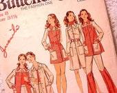 Vintage 70s Butterick 6548 Pattern Mini Dress, Smock Top, Pants, Shorts Size 8