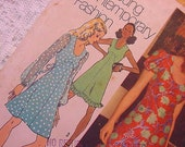 Vintage Simplicity 5015 Pattern 1972 Empire Dress Summer  Size 10 Sheer, Ruffles, Puff Sleeves