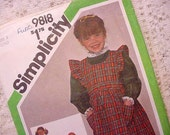 Vintage Childs Simplicity 9818  Pattern Size 3 Dress and Pinafore (little house on the prairie style)