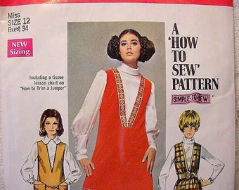 Retro Simplicity 8364 Jumper Pattern from 1969 Size 12 Bust 34 , Womens sewing