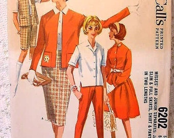 McCalls 6202 Separates Pattern 1961 Jacket Slim,  Full Skirts, Shirt, Pants in 2 lengths Size 14 Bust 34