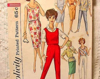 Simplicity 4401 Misses Size 12  Sewing Pattern 50s 60s 7 Day Separates  Blouse, Skirt, Pants and Top