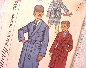 Vintage Simplicity 3242  Pattern Boys Robe with Monogram Transfer Size 10 Sewing