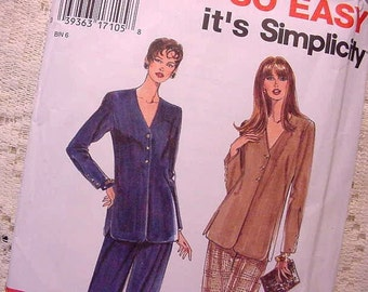 Simplicity 9751 Pattern Shirt / Jacket and Pants 90s Size 10 to 20