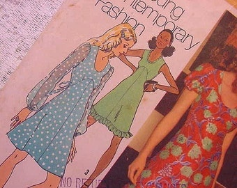 Vintage Simplicity 5015 Pattern 1972 Empire Dress Summer  Size 10 Sheer, Ruffles, Puff Sleeves