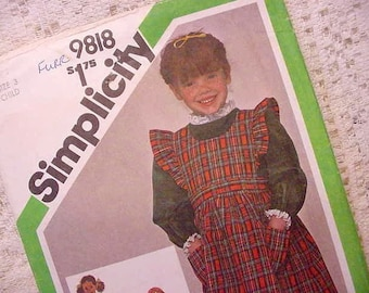 Vintage Childs Simplicity 9818  Sewing Pattern Size 3 Dress and Pinafore (little house on the prairie style)